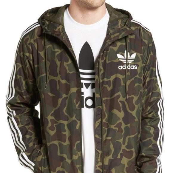 Urban Outfitters Adidas Camo Windbreaker Jacket S NWT